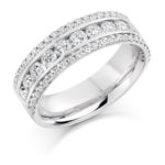18ct White Gold Brilliant Cut Diamond Three Row Dress Ring 1.35ct