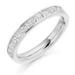18ct White Gold Princess Cut Diamond Channel Set Half Eternity Ring 1.00ct