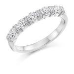 18ct White Gold Brilliant Cut Diamond Fancy Bar Set Half Eternity Ring 0.60ct