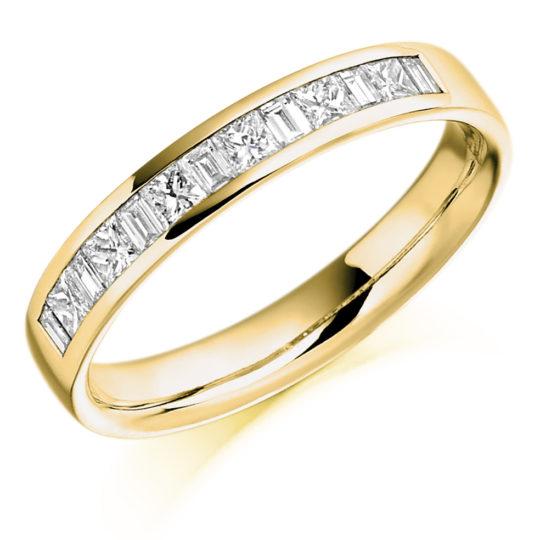 18ct Yellow Gold Princess Cut & Baguette Cut Diamond Channel Set Half Eternity Ring 0.50ct