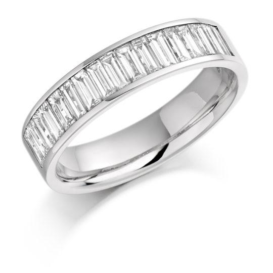 Platinum Baguette Cut Diamond Channel Set Half Eternity Ring 1.00ct