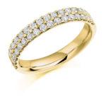 18ct Yellow Gold Brilliant Cut Diamond Micro Claw Set Two Row Half Eternity Ring 0.75ct