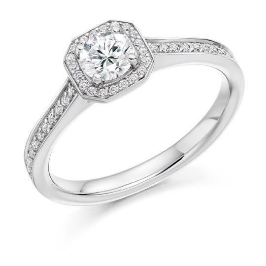 Platinum Brilliant Cut Diamond Halo Engagement Ring 0.53ct