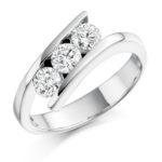 Platinum Brilliant Cut Diamond Crossover Trilogy Engagement Ring 0.75ct