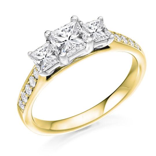 18ct Yellow Gold Princess Cut Diamond Trilogy Engagement Ring 1.20ct