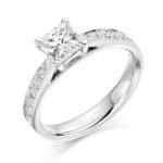 Platinum Princess Cut Diamond Engagement Ring 0.73ct