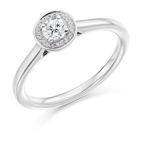 18ct Yellow Gold Brilliant Cut Diamond Halo Engagement Ring 0.31ct
