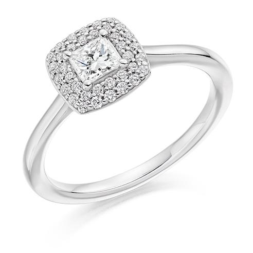 Platinum Brilliant Cut Diamond Double Halo Engagement Ring 0.50ct