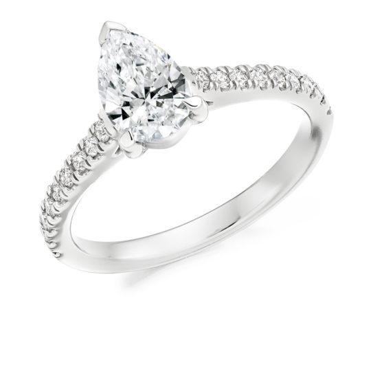 Platinum Pear Shape Diamond Engagement Ring 1.25ct