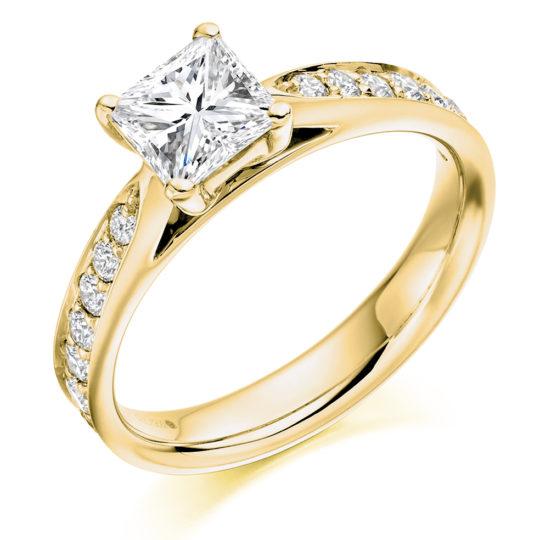 18ct Yellow Gold Princess Cut Diamond Engagement Ring 1.45ct