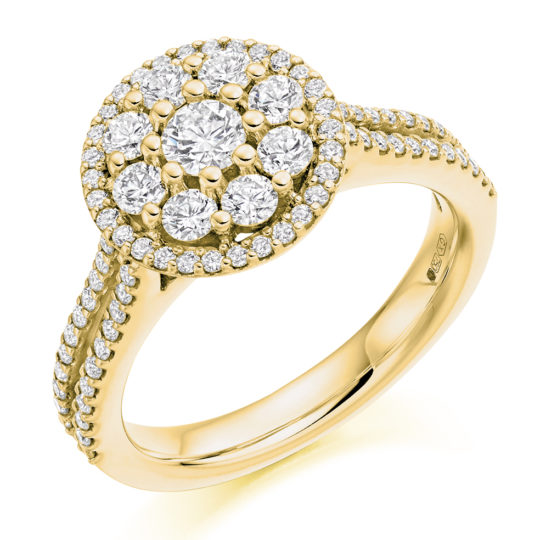 18ct Yellow Gold Brilliant Cut Diamond Flower Cluster Halo Engagement Ring 1.00ct