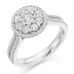 Platinum Brilliant Cut Diamond Flower Cluster Halo Engagement Ring 1.00ct