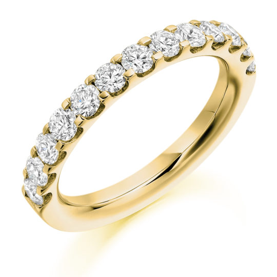 18ct Yellow Gold Brilliant Cut Diamond Micro Claw Set Half Eternity Ring 1.00ct