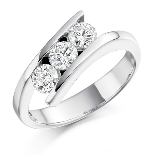 18ct Yellow Gold Brilliant Cut Diamond Crossover Trilogy Engagement Ring 0.75ct