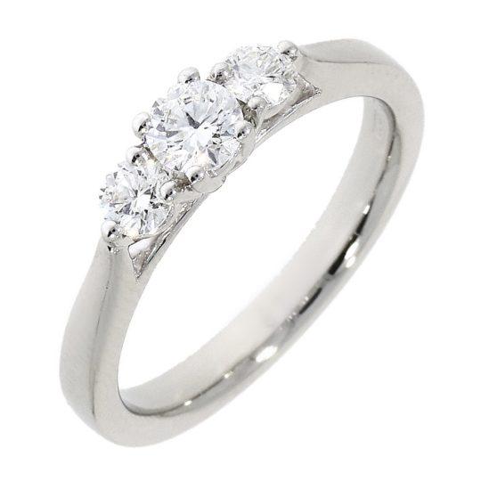 Platinum Brilliant Cut Diamond Trilogy Engagement Ring 0.50ct