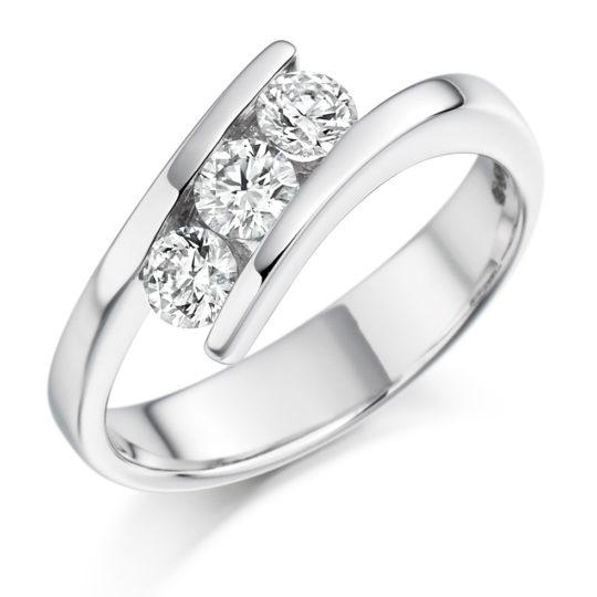 Platinum Brilliant Cut Diamond Crossover Trilogy Engagement Ring 0.55ct