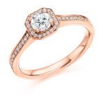 18ct Yellow Gold Brilliant Cut Diamond Halo Engagement Ring 0.53ct