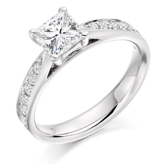 Platinum Princess Cut Diamond Engagement Ring 1.45ct