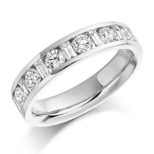18ct White Gold Brilliant Cut & Baguette Cut Diamond Channel Set Half Eternity Ring 1.08ct