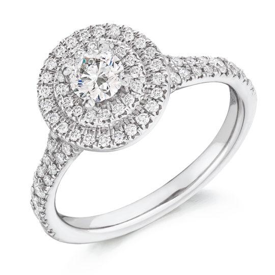 Platinum Brilliant Cut Diamond Double Halo Engagement Ring 0.80ct