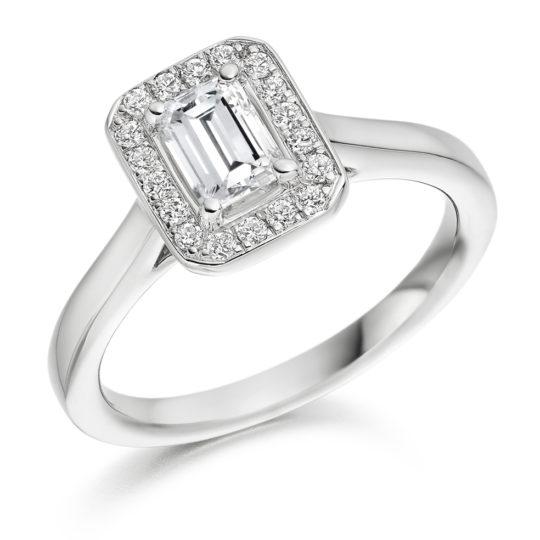 18ct Yellow Gold Emerald Cut Diamond Halo Engagement Ring 0.65ct