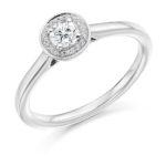 Platinum Brilliant Cut Diamond Halo Engagement Ring 0.31ct