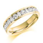 18ct Yellow Gold Brilliant Cut & Baguette Cut Diamond Channel Set Half Eternity Ring 1.08ct