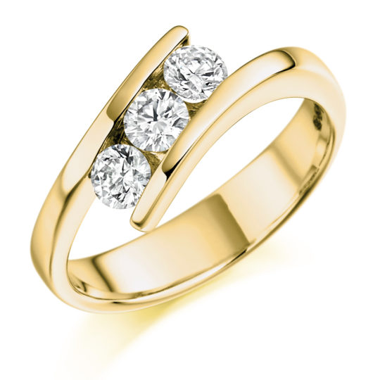 18ct Yellow Gold Brilliant Cut Diamond Crossover Trilogy Engagement Ring 0.55ct