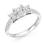Platinum Princess Cut Diamond Trilogy Engagement Ring 1.20ct