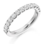 18ct White Gold Brilliant Cut Diamond Micro Claw Set Half Eternity Ring 1.00ct