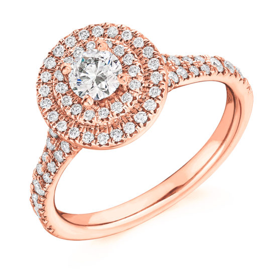 18ct Yellow Gold Brilliant Cut Diamond Double Halo Engagement Ring 0.80ct