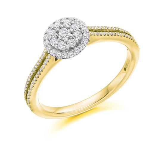 Platinum Brilliant Cut Diamond Flower Cluster Halo Engagement Ring 0.40ct