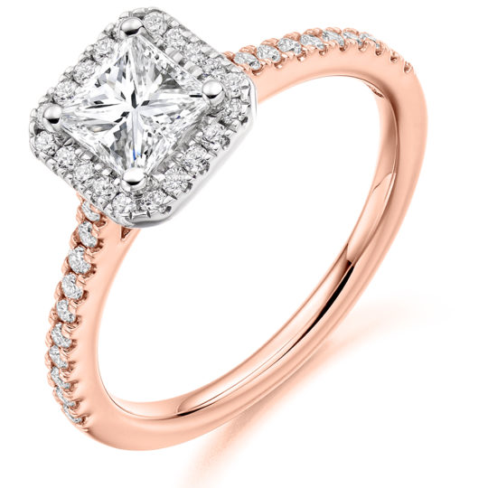 18ct Yellow Gold Princess Cut Diamond Halo Engagement Ring 1.15ct