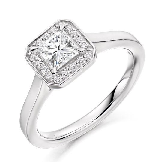 18ct Yellow Gold Princess Cut Diamond Halo Engagement Ring 0.70ct