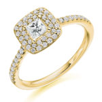 18ct Yellow Gold Princess Cut Diamond Double Halo Engagement Ring 0.70ct
