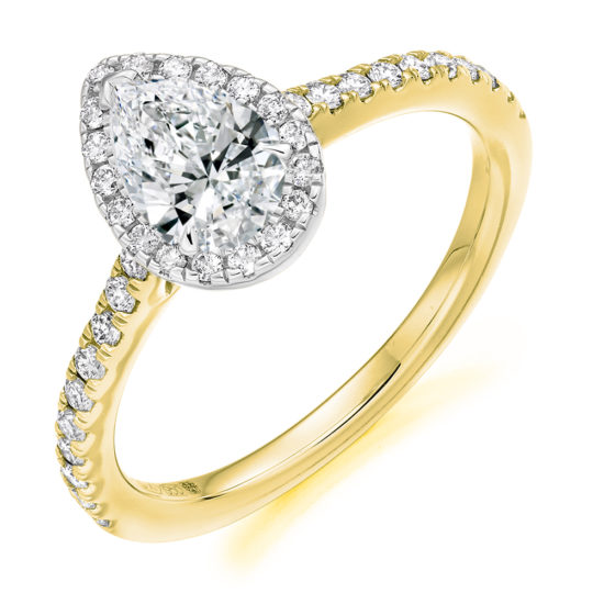 18ct Yellow Gold Pear Shape Diamond Halo Engagement Ring 0.85ct