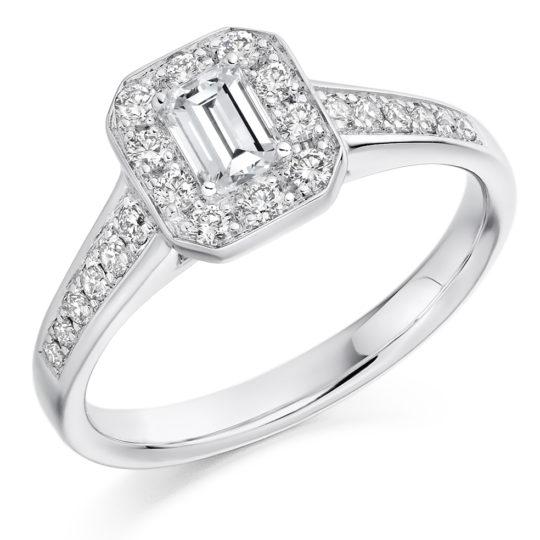 Platinum Emerald Cut Diamond Halo Engagement Ring 0.68ct