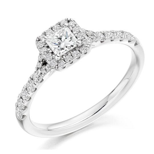 Platinum Princess Cut Diamond Halo Engagement Ring 0.60ct