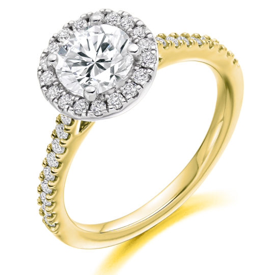 18ct Yellow Gold Brilliant Cut Diamond Halo Engagement Ring 1.40ct