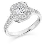 Platinum Emerald Cut Diamond Halo Engagement Ring 1.35ct
