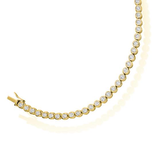 18ct Yellow Gold Brilliant Cut Diamond Bezel Set Tennis Bracelet 4.00ct