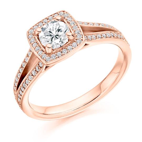 18ct Yellow Gold Brilliant Cut Diamond Halo Engagement Ring 0.80ct