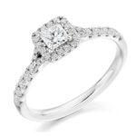 18ct Yellow Gold Princess Cut Diamond Halo Engagement Ring 0.60ct