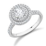 Platinum Brilliant Cut Diamond Double Halo Engagement Ring 1.20ct