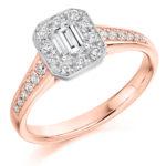 18ct Yellow Gold Emerald Cut Diamond Halo Engagement Ring 0.68ct