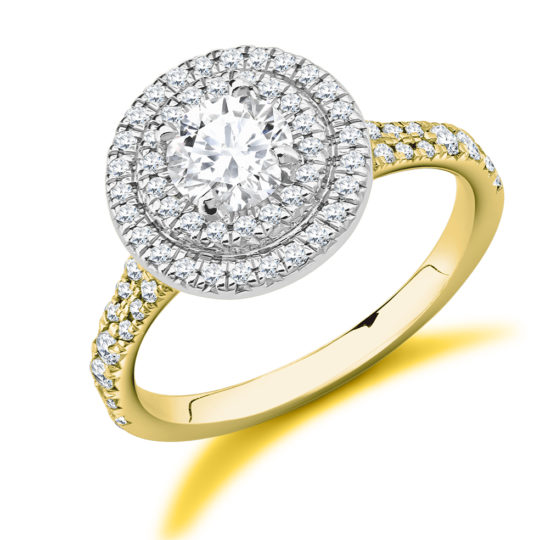 18ct Yellow Gold Brilliant Cut Diamond Double Halo Engagement Ring 1.20ct