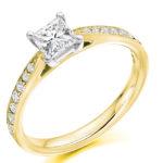 18ct Yellow Gold Princess Cut Diamond Engagement Ring 0.40ct