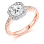 18ct Yellow Gold Brilliant Cut Diamond Halo Engagement Ring 1.10ct