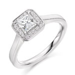 Platinum Princess Cut Diamond Halo Engagement Ring 0.70ct