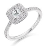 Platinum Princess Cut Diamond Double Halo Engagement Ring 0.70ct